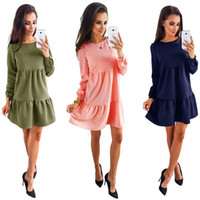 Wholesale Womens Clothes Xl Dresses - Autumn And Winter Women Sexy Dress Fashion Long Sleeve Dresses Blue Pink ArmyGreen Womens Clothing Sexy Dress LX4120