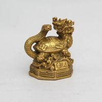 ingrosso drago fengshui-Chinese Fengshui Copper brass Animal Zodiac Year Lucky dragon snake Statue decorazione della casa
