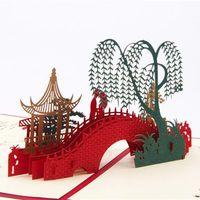 Wholesale Making Paper Toys - 2017 Diy Sweet Made 3D Pop Up Greeting Cards Foot Bridge Running Water Willow Tree Laser Cut