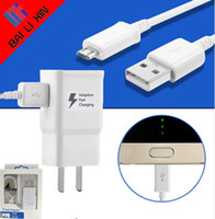 Wholesale Eu Chargers - Travel Wall Charger AAA+ 5V 2A 9V 1.67A Adaptive Fast Charging +1.5M V8 cable for Samsung S7 S8 With the LOGO