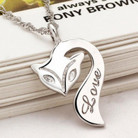 Wholesale 925 sterling silver fox necklace for sale - Group buy Fox Pendant Necklace Sterling Silver Plated Fire Fox Necklace Love Charm Pendant Enamel Bronze Jewelry for Women Wedding Christmas Gift