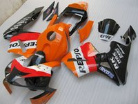 Wholesale Honda Repsol Cover - New ABS Plastic Full Fairing Kit Fit For Honda CBR600RR F5 03 04 2003 2004 CBR600 600RR +Tank cover+seat cowling red orange black repsol