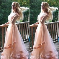 Роскошные вышитые бисером платья из выпускного платья Two Piece 2017 Girls Coral Special Occasion Dress A-Line Формальные вечерние платья