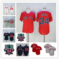 Wholesale Women Shorts Cheap - 2017 Cheap #34 David Ortiz Boston Red Sox Cool Base Jersey with Retirement Patch Men Women Red White Grey Navy Throwback Flexbase Jersey