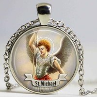Wholesale Michael Necklace - St Michael necklace Saint pendant Art St Michael Jewelry Gift Religious Religion Cabochon St Michael Jewerly necklace