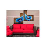 lienzo pinturas al óleo venta al por mayor-100% Pintado A Mano Sin Enmarcar 4 piezas Venta Caliente Azul Gran Lirio Pinturas Al Óleo Regalo Lienzo Arte de La Pared Pinturas Para la Sala de estar