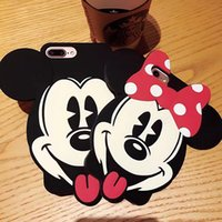 Wholesale 3d Back Case Cellphone - 3D Mickey Minnie Mouse Soft Silicone Case For Iphone 7 Plus 6 6s 6P 7+ 6Plus Bowknot Cute Lovely Cartoon Silicon CellPhone Back Skin Cover