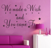 Wholesale Made Wish Sticker - PVC 59*35cm We made a wish English text pattern wall stickers living room bedroom TV sofa background decoration stickers
