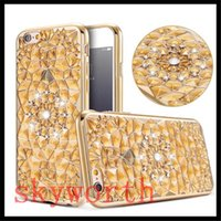 Wholesale Iphone Rugged Bling Case - Bling Diamond 3D Rugged Sunflower Plating Soft TPU Case For iPhone 7 5 6 6S Plus 7Plus Samsung Galaxy S7 Edge S8 plus