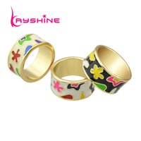 Wholesale New Style Ring For Gold - New Arrival Elegant Delicated Boho Style Colorful Enamel Geometric Pattern Round Finger Rings For Women Bijoux