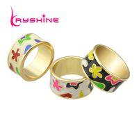 Wholesale Finger Ring Patterns - New Arrival Elegant Delicated Boho Style Colorful Enamel Geometric Pattern Round Finger Rings For Women Bijoux