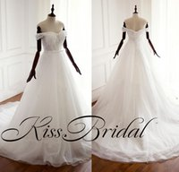 Wholesale off shoulder reception wedding dress for sale - Group buy Real Photos Lace Wedding Dresses Off The Shoulder Lace Up Bridal Gowns Cheap Wedding Reception Dresses