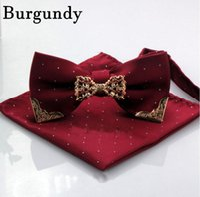 Wholesale Bridal Suits Men - 2017 Men Stripe Pocket Squares and Bow Tie Set With Gold Metal Handkerchief Hankies Suit Square Gentlemen Bridesgroom Groomsman Bridal Gowns