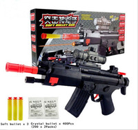 Wholesale Shot Gun Bullets - Black Soft Bullet Gun Paintball Pistol Plastic Toys CS Game Shooting Water Crystal Gun Nerf Air Soft Gun Summer Fun Toy With Infrared