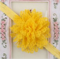 Wholesale Lace Ruffle Hair Flower - 14 COLORS Baby Girls Ruffle Flower Lace Hairband Soft Elastic Headband Hair Band YH424