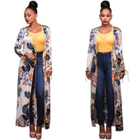 Wholesale Cape Skirts - 2017 spring summer new long floral beach cover up blouse cape beach long kimono jacket shirt