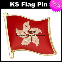 Wholesale hong kong wholesales - Hong Kong Flag Badge Flag Pin 10pcs a lot Free shipping