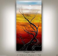 ingrosso incorniciato paesaggio di pittura ad olio grande-Incorniciato MODERN TREE ART PAINTING grande Dipinto a mano ASTRATTO CLOUD LANDSCAPE arte Pittura A Olio Qn Canvas. Multi formati, trasporto libero Ab076