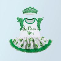 Wholesale Tutu St - St Patrick Day Baby Girls Outfit Ruffle Lace Sleeve Girls Bodysuit Tutu Skirt Baby Set My First St. Patrick Day Baby Clothes