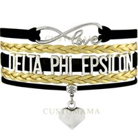 Wholesale Delta Phi - Custom-Infinity Love Delta Phi Epsilon Heart Charm Multilayer Wrap Bracelet Black Gold Suede & Leather Bracelet Women's Fashion