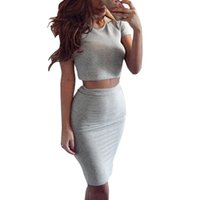 Barato Pano De Festa Da Noite-Womens Club Two Piece Outfits Bodycon Midi Cloth Sexy Party Vestidos Night Club