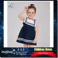 Wholesale Navy Blue Children Clothes - Girl Navy Cotton Dress Baby Bowknot Design Children Kids Summer Clothing Fashion Clothes Sleeveless Boat Neck Knee-Length DHL Free Shipping