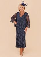 in voller länge abendjacke groihandel-2020 Formal Plus Size Mutter der Braut-Kleid mit V-Ausschnitt mit langen Ärmeln vollen Spitze wulstigen Tees Länge mit Jacken-Partei-Kleid-Abend-Kleidern