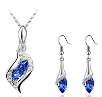 Wholesale Nickel Free Jewelry Earrings - Crystal Necklace Earring Set Nickel Free Blue Jewelry Sets High Quality Fashion Jewelry Sets For Women 2017