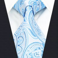 Wholesale Classic Dressing For Men - A38 Azure Paisley Mens Ties for male Necktie Silk Jacquard Woven Wedding Fashion Novelty Classic Dress