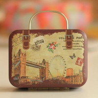 Wholesale Candy Metal Containers - Europe Style Vintage Suitcase Shape Candy Storage Box Elegant Wedding Favor Tin Box Organizer Retro Household Container For Kids Girls