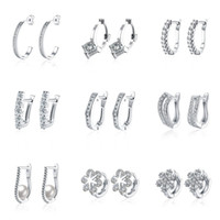 Wholesale White Gold Hoop Earrings Wholesale - 18pairs lot 9 models mixed order 18K white gold plated small hoop earrings cubic zirconia trendy huggie for women #er186