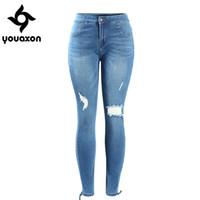 Wholesale Women S Torn Jeans - Wholesale- 2071 Youaxon Women`s Plus Size Mid Waist Ultra Stretch Ripped Knees Torn Hem Denim Pants Jeans For Women Free Shipping
