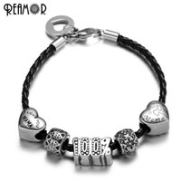 Vente en gros- REAMOUR 316l Acier inoxydable I Love You Mama Letter Heart European Spacer Beads Noir Braided Leather Rope DIY Bracelet Charms