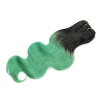Wholesale cambodian colored hair - 300g Ombre Human Hair Bundles Body Wave T B Green Two Tone Colored Brazilian Peruvian Malaysian Indian Cambodian Hair