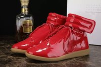 Wholesale Euro Hook - Brands Patent Leather Maison Martin Margiela Men's Waterproof High Top Shoes In Plus Euro Size Shoes