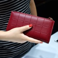 Wholesale Double Zipper Clutch Wallet - Women Leather Purse Plaid Wallets Long Ladies Colorful Walet Red Clutch 10 Card Holder Coin Bag Female Double Zipper Wallet Girl