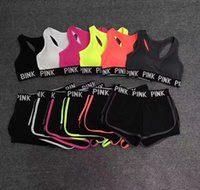 Wholesale Two Piece Tank Tops - Women Love Pink Letter Tracksuits Yoga Fitness Jogging Gym Bodybuilding Workout Sportswear Bras Crop Tank Top Shorts Leggings Two Piece Set