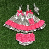 Wholesale Swing Tops Bloomers - Wholesale- infant baby girls boutique clothing sets toddler girls reindeer swing top outfits wiht ruffle bloomer with headband