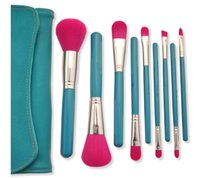 Wholesale leather bag handles wholesale - 9PCS set Makeup Brushes Set High-Quality Soft Synthetic Hair Blue Wood Handle Classic Cosmetic Brush Set with Leather Bag DHL Free