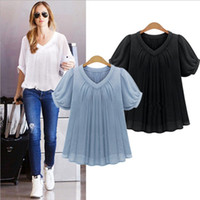 Wholesale Long Sleeves T Shirt Star - 2017 summer European and American wind large size women's T-shirt loose was thin V-neck short-sleeved chiffon shirt star styleOBN-015