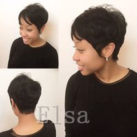 Wholesale front hair cut indian style online - Rihanna Pixie Cut short hair style cuts a Brazilian Human Short Hair Bob Wig With Baby Hair Lace Front Wig For Black Women