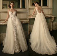 Wholesale Embroidered Dress Pearls - 2016 Berta Bridal Detachable Skirt Sheath Wedding Dresses Lace Embroidered Sheer Sweetheart Neckline Bridal Wedding Gowns ADW014