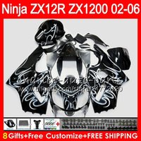 Wholesale Ninja Zx12r - 8Gifts 23Colors For KAWASAKI NINJA ZX 12 R ZX12R 03 04 05 06 52HM11 white flames ZX1200 C ZX 1200 ZX 12R ZX-12R 2003 2004 2005 2006 Fairing