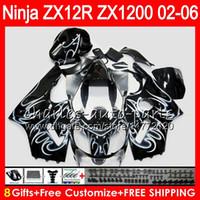 carrinhos kawasaki zx12r ninja venda por atacado-8Presentes 23Cores Para KAWASAKI NINJA ZX 12 R ZX12R 03 04 05 06 52HM11 chamas brancas ZX1200 C ZX 1200 ZX 12R ZX-12R 2003 2004 2005 2006 Carenagem