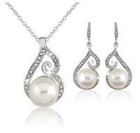 Wholesale Womens Silver Rope Chain Necklace - Pearl diamond necklaces earring set for womens gold silver three colors shipping free