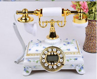 Wholesale Landline Telephone Corded - Decoration Arts crafts European three antique retro telephone landline corded Telephone Phone creative