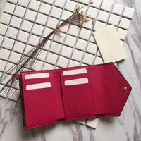 eule brieftaschen großhandel-Brand New Victorine Brieftasche Damier Azur Canvas Damen Echtes Leder Victorine Eule rosa Damen Brieftasche Kartenhalter Geldbörsen Geldbörse rot M41938