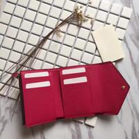 baykuş kanvas toptan satış-Marka Yeni Victorine Cüzdan Damier Azur Tuval Kadınlar Gerçek Deri Victorine baykuş pembe bayanlar cüzdan kart sahibinin cüzdan sikke çanta kırmızı M41938