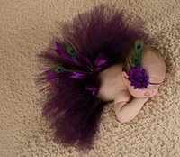Wholesale Crochet Photo Props - Newborn photography props baby girls purple peacok feather skirt photo props tutu sets+flower headband baby photo shoot