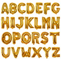 Wholesale Latex Balloons Letters - 16in Gold Aluminum Foil Balloons Letters Helium Ballons Birthday Decoration Wedding Air Balloon Party Supplies